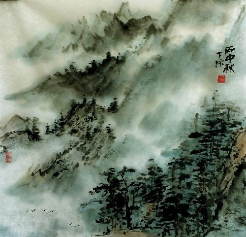 秋山晨雾图