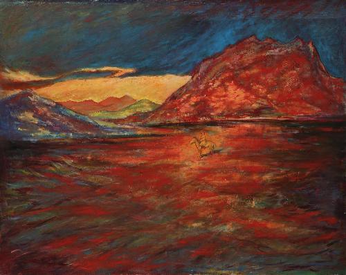 風吹過紅色山崖