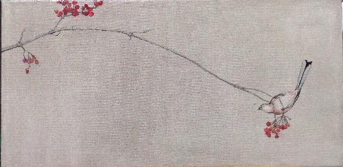 红果雀鸟图