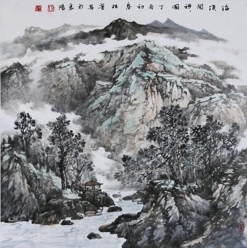 《临溪问禅图》