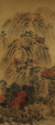 秋山红树图