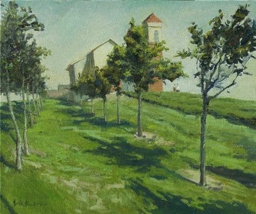 教堂前的树林