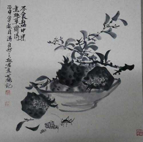 石榴虫趣图