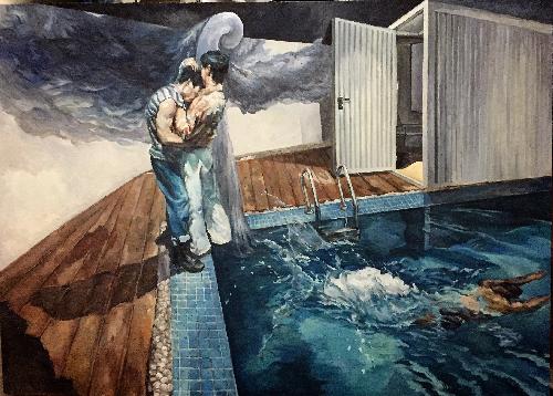 池畔恋人画像