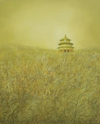 孤独系列--天坛(已装裱金色框)
